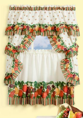 fruit kitchen curtains ebay. Black Bedroom Furniture Sets. Home Design Ideas