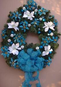 christmas wreath handmade - Blue Christmas Wreath