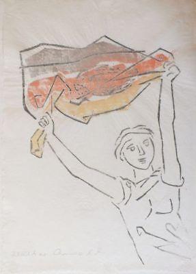 Prof. Walter Arnold, Junge mit Fahne, kolorierter Holzschnitt