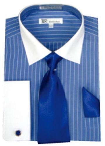 Mens Blue Dress Shirt White Collar Ebay