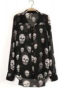 Black Long Sleeved Chiffon Blouse
