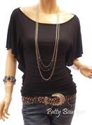Black Boat Neck Top