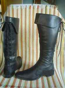 NINE WEST Black Leather Cuffed Granny Pirate Boots size 8.5/9
