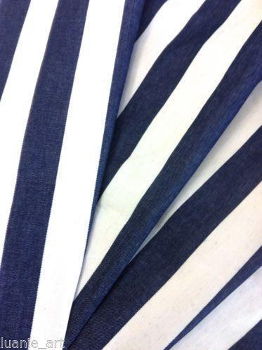blue and white stripe fabric ebay. Black Bedroom Furniture Sets. Home Design Ideas
