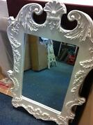 Large White Ornate Mirror