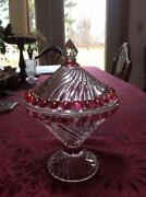 Ruby Glass Compote