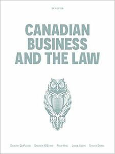 Canadian Business and Law 6th Ed textbook Toronto