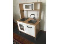 PLAY KITCHEN : 'Ikea DUKTIG, Childrens' UniSex Wooden Mini Pretend Play Kitchen', 3+