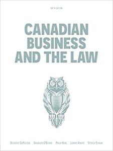 Canadian Business and Law 6th Ed textbook Mississauga