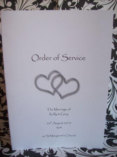 Wedding Order Of Service Ebay