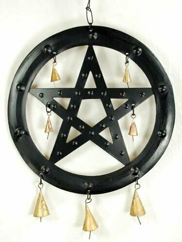 Black Pentagram Wind Chime - 9 1/2""