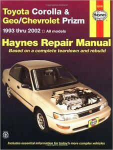 Haynes for Toyota Corolla and Geo/ chev Prizm 93 to 02