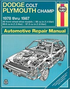 Haynes for Dodge colt and plymouth champ 1978 to 1987