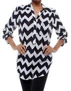 Womens Black and White Striped Blouse