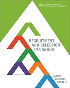 Recruitment & Selection in Canada-6th Edition-Nelson-Catano