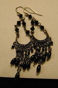 Black n silver dangle earrings