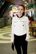 White Chiffon Long Sleeved Blouse