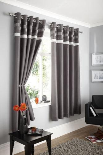 charcoal eyelet curtains ebay. Black Bedroom Furniture Sets. Home Design Ideas