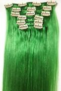Clip in Human Hair Extensions Green