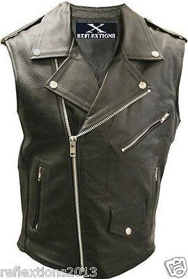 Motorcycle Brando Vest Vintage Motorbike Sleeveless Biker Brando Leather Vest