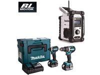 MAKITA DLX2180TJ BRUSHLESS 2-PIECE 18V KIT DHP484 + DTD153 + DMR104W SITE RADIO