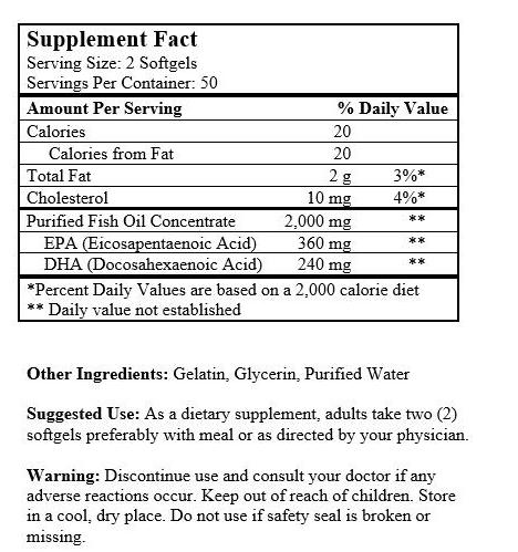Alaska Deep Sea Fish Oil, Omega 3 DHA/EPA 1000 mg 200 Softgels NEW FAST SHIP USA 1