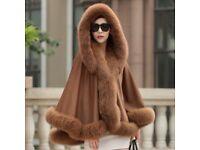 DAYMISFURRY -- Cashmere Cape with Detachable Hood & Fox Fur Trim