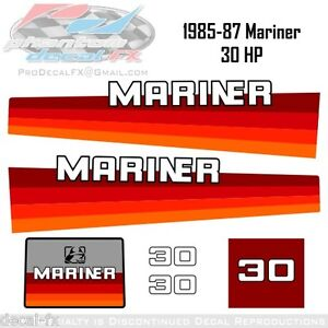 1985-1986-1987-Mariner-30-HP-Outboard-Reproduction-7-Piece-Vinyl-Decal-Set
