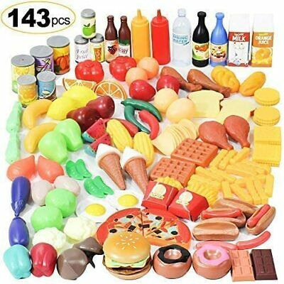 143-Piece Pretend Play Food Set Toy Food Grocery Kitchen For Kids Plastic Toddle