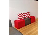 3 x Fabric Cube Footstools