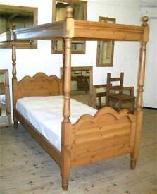 Single 4 poster bed trundle 2 x mattress