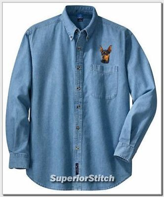 MINIATURE PINSCHER embroidered denim shirt (Miniature Pinscher Denim Shirt)
