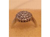 9ct white gold diamond ring size M