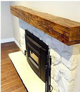 Fireplace Mantels, Reclaimed Barn Beams and Shelves