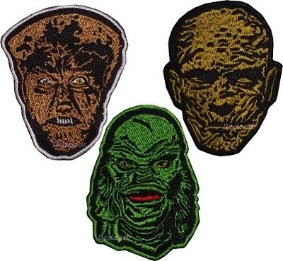 Set Universal Monsters Embroidered Patches Wolf Man Mummy Creature Black Lagoon