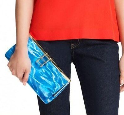 KATE SPADE NEW YORK RARE DIVE IN POOL PARTY CLUTCH GOLD LADDER PURSE NWT WATER
