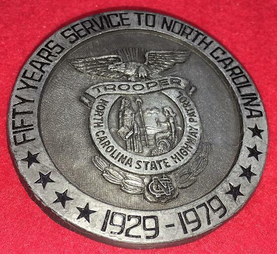 VINTAGE NORTH CAROLINA NC STATE TROOPER 50 YR BELT BUCKLE  POLICE PATROL 1979