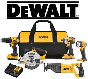 NEW DEWALT MAX 5-TOOL KIT 20V DCK520D2 219401115 Li-Ion Cordless with (2) Batteries 20V MAX XR , Charger Contractor Ba