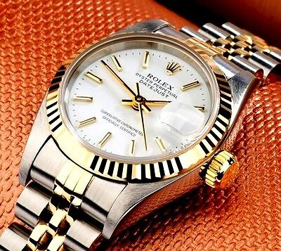 LADIES TWO TONE 18K/SS ROLEX DATEJUST W/FACTORY ROLEX WHITE DIAL, ORIGINAL BAND