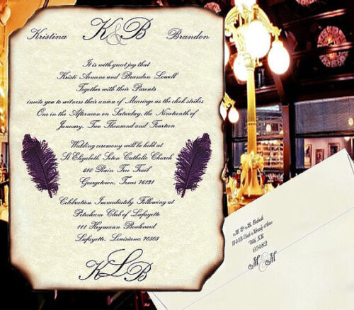 qty 50 Monogram Wedding Invitations Elegance antique purple plum party scrolls