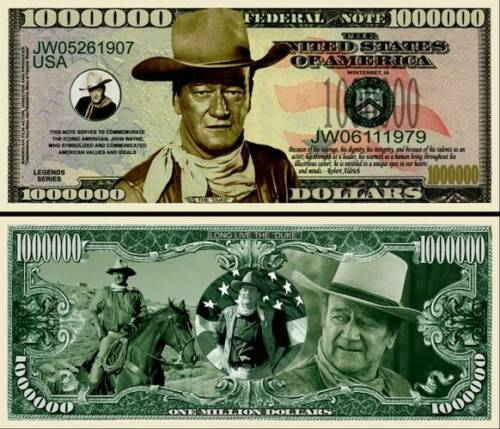John Wayne New-Style Million Dollar Bill Fake Play Funny Money Note +FREE SLEEVE