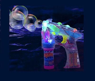 LED FLASHING BUBBLE GUN LIGHT UP BUBBLES SQUIRT BLOWER PARTY FAVORS 2 BOTTLES