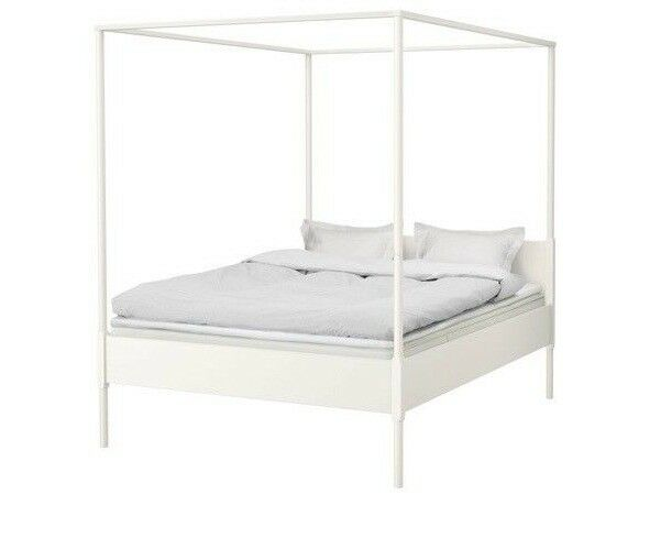 Ikea Double Four Poster Bed White Edland Excellent Condition 4