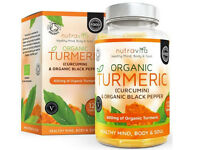 Organic Turmeric Curcumin & Black Pepper 600mg | Highest Potency Available | 120 Clear Veg Capsules