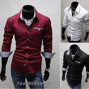 New-Mens-Luxury-Casual-Slim-Fit-Stylish-Dress-Shirts-3-Colors-4size-E602