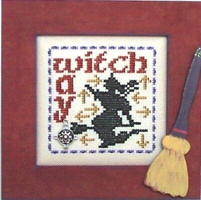 Word Play: Witch Way Halloween Hinzeit Cross Stitch Pattern w/Charms