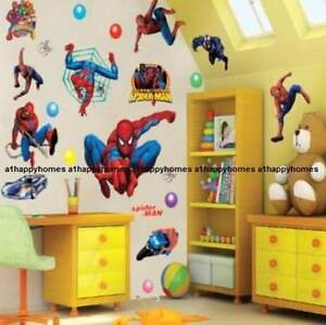 Large SPIDERMAN Wall Stickers Art Kids Nursery Boys Bedroom Decor Vinyl Reusable