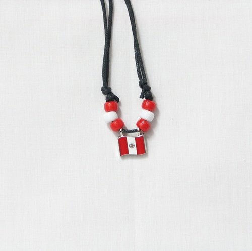 PERU  COUNTRY FLAG SMALL METAL NECKLACE CHOKER .. NEW