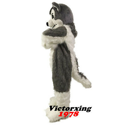 Halloween Gray Wolf Husky Dog Mascot Costumes Suits Animals Cosplay Dress Adults