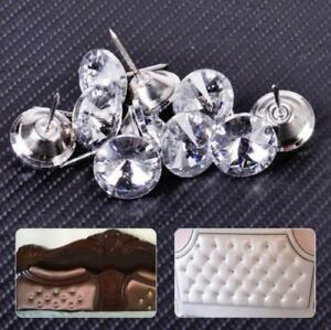 US STOCK 20pcs Sparkly Crystal Tack Upholstery Sofa Headboard Buttons Wall Decor